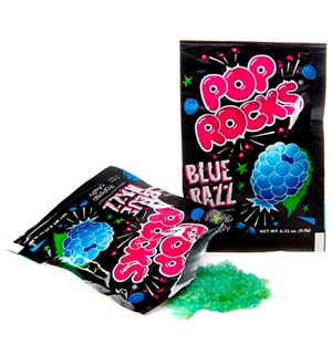 Pop Rocks med Bringebærsmak Blue Razz Det originale bruspulveret!