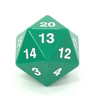 RPG Dice D20 Giant Dice (34mm) - Grønn 20-sidet terning, Perfekt til life count