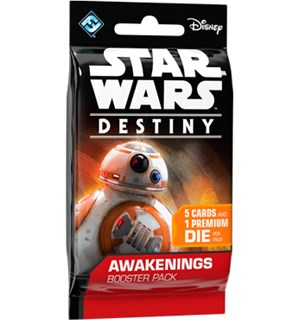 Star Wars Destiny Awakenings Booster 5 tilfeldige kort + 1 terning