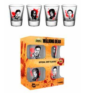 The Walking Dead Shot Glass 4-Pack Offisielle glass med Walking Dead motiv