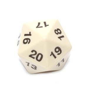 RPG Dice D20 Giant Dice (34 mm) - Hvit 20-sidet terning, Perfekt til life count
