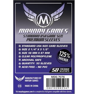 Mayday Kortbeskyttere 56x87mm - 50 stk Standard USA Game Size Premium Sleeves