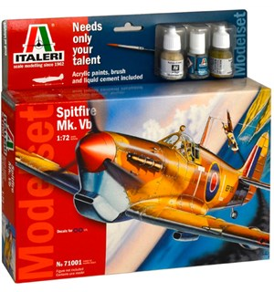 Spitfire Mk Vb Model Starter Set Italeri 1:72 Byggesett