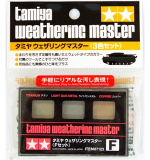 Tamiya Weathering Master F-Set Titanium, Light Gun Metal, Copper
