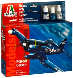 F4U 5N Corsair Model Starter Set Italeri 1:72 Byggesett