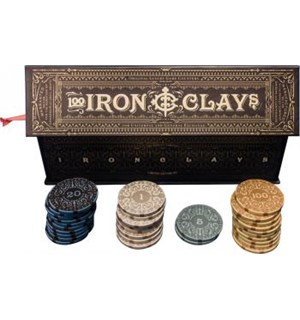 Iron Clays Mynter 100 Sjetonger m/verdi Luxury Game Counters Retail Edition
