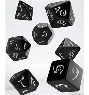 RPG Dice Set Black 7 stk. Sett Terninger til Rollespill