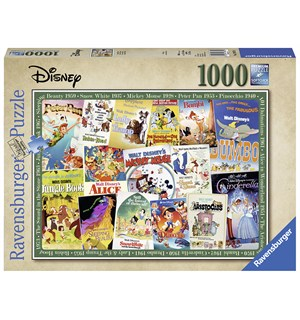 Disney Vintage Movie Posters 1000 biter Ravensburger Puzzle Puslespill
