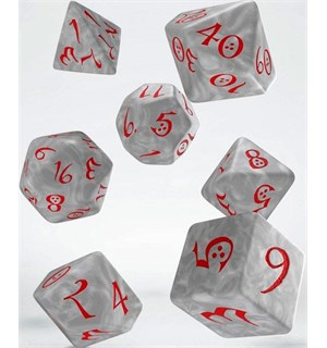 RPG Dice Set Pearl/Red 7 stk Terninger til rollespill