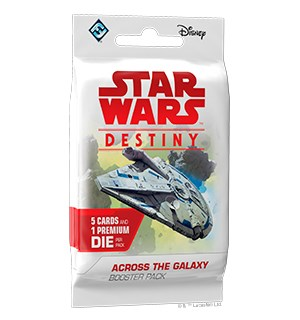 Star Wars Destiny Across Galaxy Booster Booster 5 tilfeldige kort + 1 terning