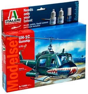 UH-1C Gunship Model Start Set - Komplet Italeri 1:72 Byggesett