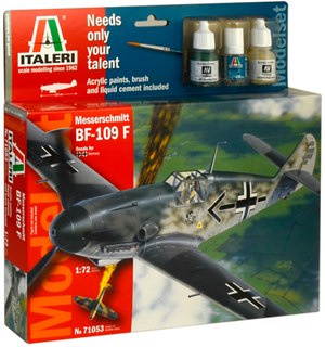 Messerschmitt 109 Model Komplett Set Italeri 1:72 Byggesett