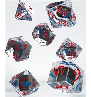 RPG Dice Set Translucent/Red/Blue Terninger til rollespill - 7 stk