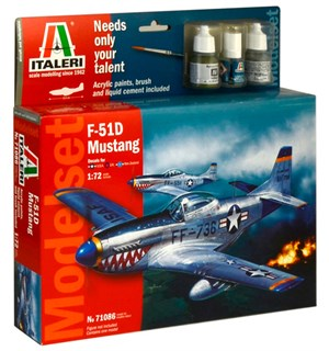 F51 D Mustang Model Start Set - Komplet Italeri 1:72 Byggesett