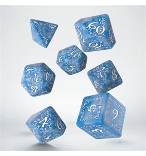 RPG Dice Set Elvish Blue/White Terninger til rollespill - 7 stk