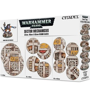 Sector Mechanicus 32/40/65mm Round Bases Warhammer 40K - Industrial Bases