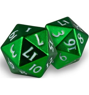 RPG Dice D20 Heavy Metal Emerald Frost Terninger til rollespill - 2 stk