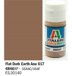 Akrylmaling Flat Dark Earth Ana 617 Italeri 4846AP - 20 ml