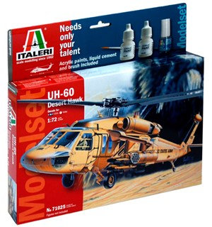 UH-60 Desert Hawk Model Start Set Kompl Italeri 1:72 Byggesett