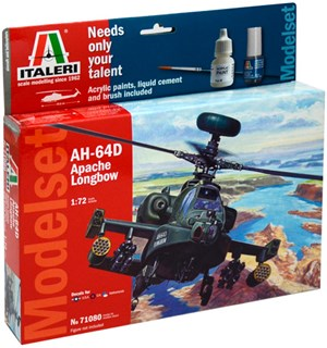 AH-64 Apache Model Start Set Komplett Italeri 1:72 Byggesett