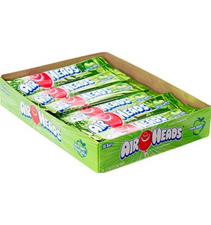 Airheads Green Apple Display 36 stk Herlig seig tyggekaramell, eplesmak