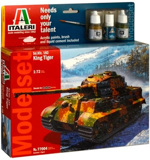 King Tiger Model Starter Set Italeri 1:72 Byggesett