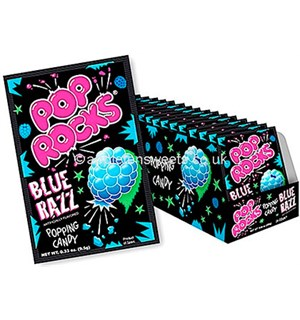 Pop Rocks Bringebærsmak - 24 stk Hel kartong med Pop Rocks Blue Razz