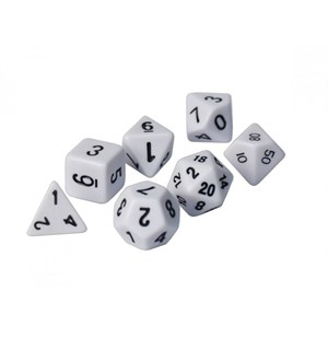 Roleplaying Dice Set White Standard RPG Terningsett til rollespill (D&D etc)