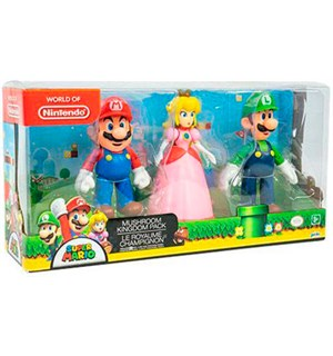 Super Mario Figurer - Mario/Luigi/Peach Mushroom Kingdom Pack - 3 figurer