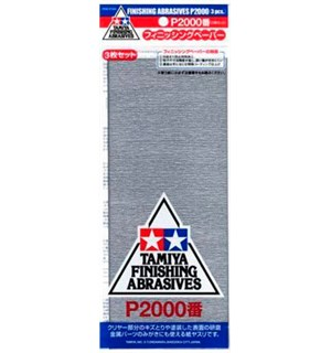 Tamiya Finishing Abrasives P2000 - 3 stk Pussepapir P2000