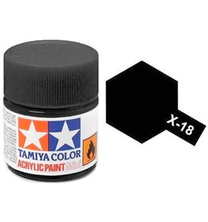 Akrylmaling MINI X-18 Semi Gloss Black Tamiya 81518 - 10ml