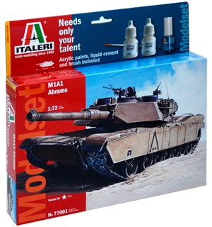 M1A1 Abrams Model Start Set Komplett Italeri 1:72 Byggesett