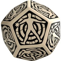RPG Dice Hit Location D12 30mm Sort/hvit