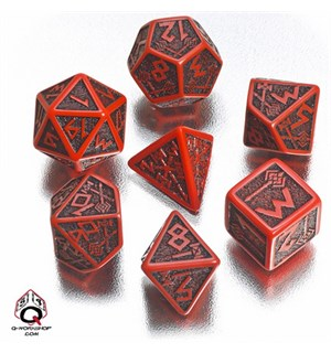 RPG Dice Set Dwarven Red/Black Terninger til rollespill - 7 stk