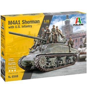 M4A1 Sherman with US Infantry Italeri 1:35 Byggesett