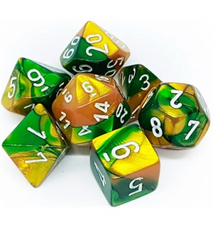 RPG Dice Set Gull-Grønn/Hvit - 7 stk Chessex 26425 Gemini Gold-Green/White