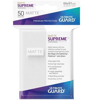 Sleeves Supreme Matte Hvit x50 66x91 Ultimate Guard Kortbeskytter/DeckProtect