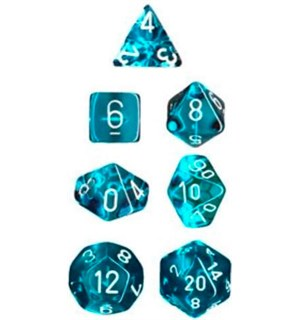 RPG Dice Set Blågrønn/Hvit - 7 stk Chessex 23085 Translucent Teal/White