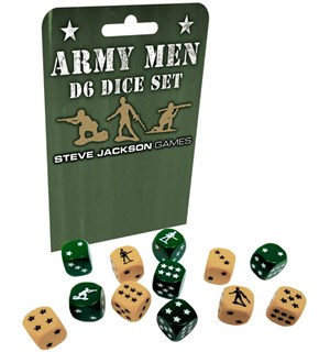 Army Men D6 Dice Set 12 stk 16mm terninger med army design