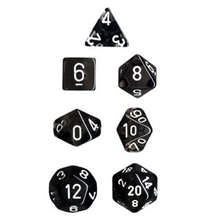 RPG Dice Set Røyk/Hvit - 7 stk Chessex 23078 Translucent Smoke/White