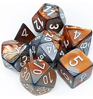 RPG Dice Set Kobber-Stål/Hvit - 7 stk Chessex 26424 Gemini Copper-Steel/White