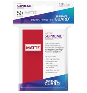 Sleeves Supreme Matte Rød x50 66x91 Ultimate Guard Kortbeskytter/DeckProtect