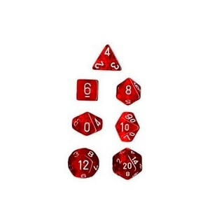 RPG Dice Set Rød/Hvit - 7 stk Chessex 23074 Translucent Red/White