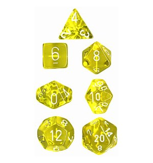 RPG Dice Set Gul/Hvit - 7 stk Chessex 23072 Translucent Yellow/White