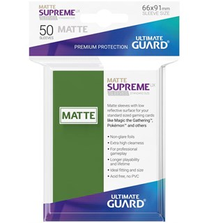 Sleeves Supreme Matte Grønn x50 66x91 Ultimate Guard Kortbeskytter/DeckProtect