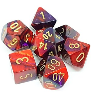 RPG Dice Set Lilla-Rød/Gull - 7 stk Chessex 26426 Gemini Purple-Red/Gold