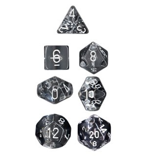 RPG Dice Set Klar/Hvit - 7 stk Chessex 23071 Translucent Clear/White