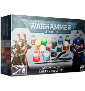 Warhammer 40K Paints + Tools Set 13 malinger, cutters, pensel, scraper