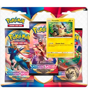 Pokemon Sword & Shield 3-Pack Morpeko 3 boosterpakker + 1 Limited Edition kort