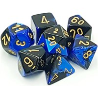 RPG Chessex Dice Set Svart-Blå/Gull 7stk Chessex 26435 Gemini Black-Blue/Gold